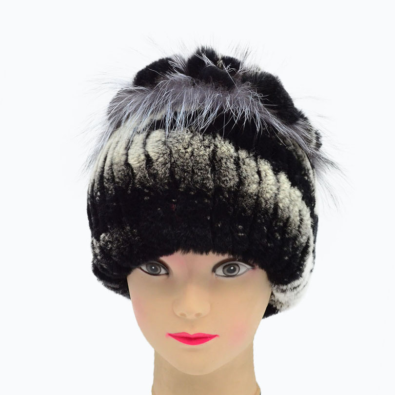 Women's Winter Hats With Natural Real rabbit Fur Female Cap Fox Fur Real Knitted Caps Pineapple Hat Hold Ears Fur Hat For Women цена 2017