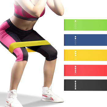 Yoga Resistance Bands 5 Colors Resistance Loop Stretching Pilates Fitness Equipment Gym Home Sport Training Workout (5lb- 25lb) 1