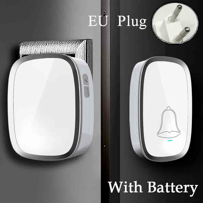 Free Shipping EU Wireless Waterproof Door Bell Smart 36 Melody Doorbells 220V Wireless Doorbell Button 1 Transmitter+1 Receiver new high quality wireless waterproof door bell 36 music melody 300m doorbell 3 transmitters 3 receiver home doorbells