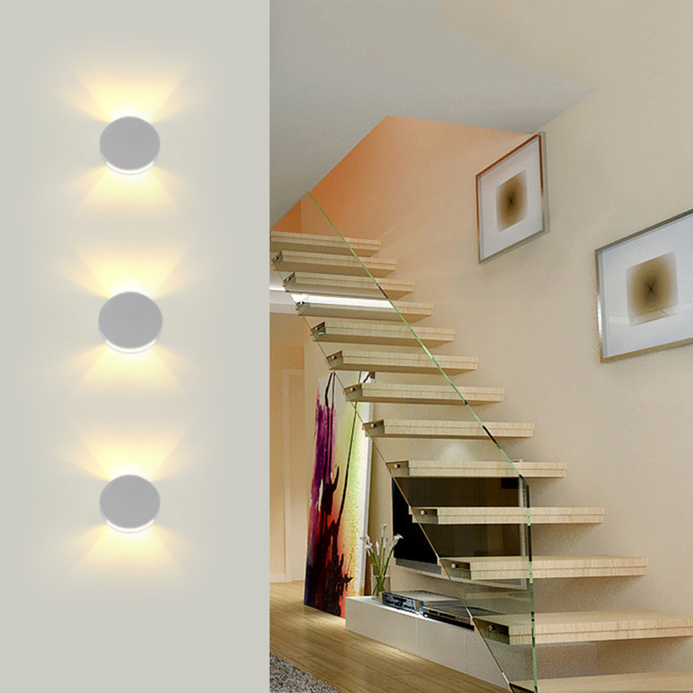 Modern Led Wall Light lamps Step Stair 67mm Dia Round Aluminum Sconce 3W AC85-265V home bedroom Foyer New fashion KTV BAR JQModern Led Wall Light lamps Step Stair 67mm Dia Round Aluminum Sconce 3W AC85-265V home bedroom Foyer New fashion KTV BAR JQ