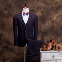 BOU 2018 new three piece suit men's suits Professional business English grid to cultivate one's morality suit