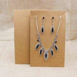 Image 4 - 15.5*9.5 cm đen/kraft lớn costume vòng cổ với bông tai card màn hình big jewelry set gói chương thẻ 100 cái + 100 phù hợp với túi