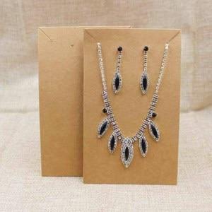 Image 4 - 15,5*9,5 см черное/крафт покрытие, большое ожерелье для костюма с витриной для сережек, карточка для демонстрации, 100 шт. + 100 подходящая сумка