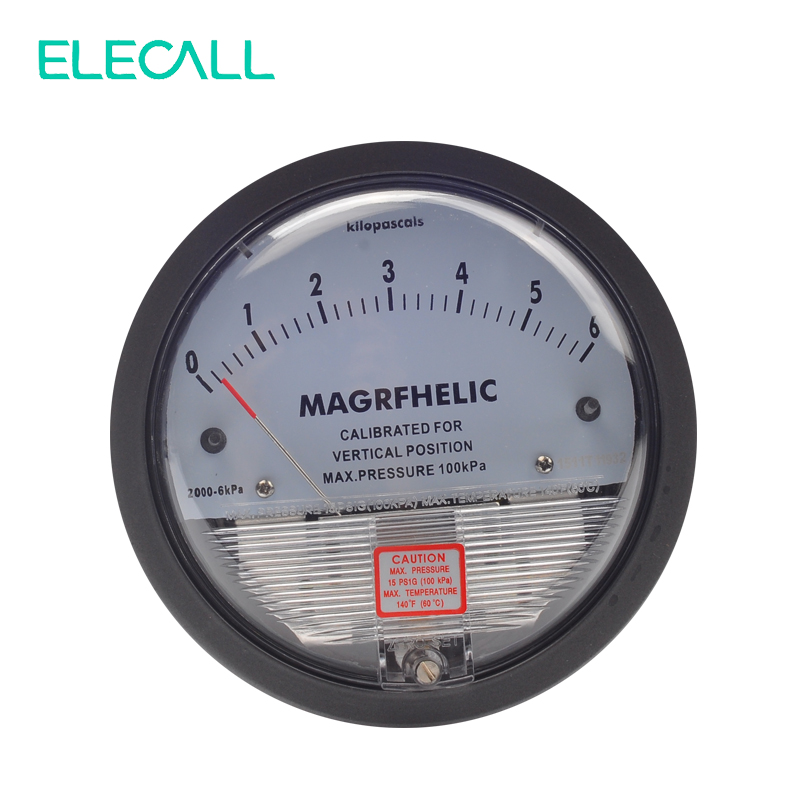 ELECALL TE2000 0-6KPA Micro Differential Pressure Gauge High Precision 1/8 NPT Round Type Pointer Instrument Micromanometer te2000 500pa 500pa micro differential pressure gauge high