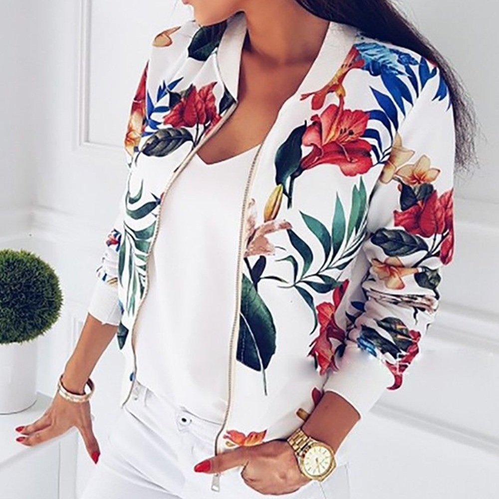 Print Bomber   Jacket   Women Flowers Zipper Up Retro Slim Coat 2019 Autumn Long Sleeve   Basic   Plus Size Short Biker   Jackets   Female