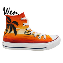 Wen Original Design Custom Hand Painted Shoes Hawaii Sunset Coconut Palm Men Women's High Top Canvas Sneakers Gifts