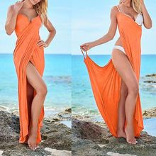 Sexy Beach Long Split Summer Dress 2017 Backless V Neck Women Cami Dress Casual Maxi Evening Party Dresses Robe Vestidos