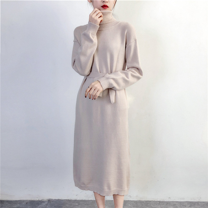 Web 2018 red little split belt sweater dress korean version of the new winter long section of large size knitted sweaters C830 gray e evans v the little red hen picture version texts