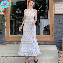 2019 summer new Korean ladies temperament hanging neck style slim lace long fashion dress
