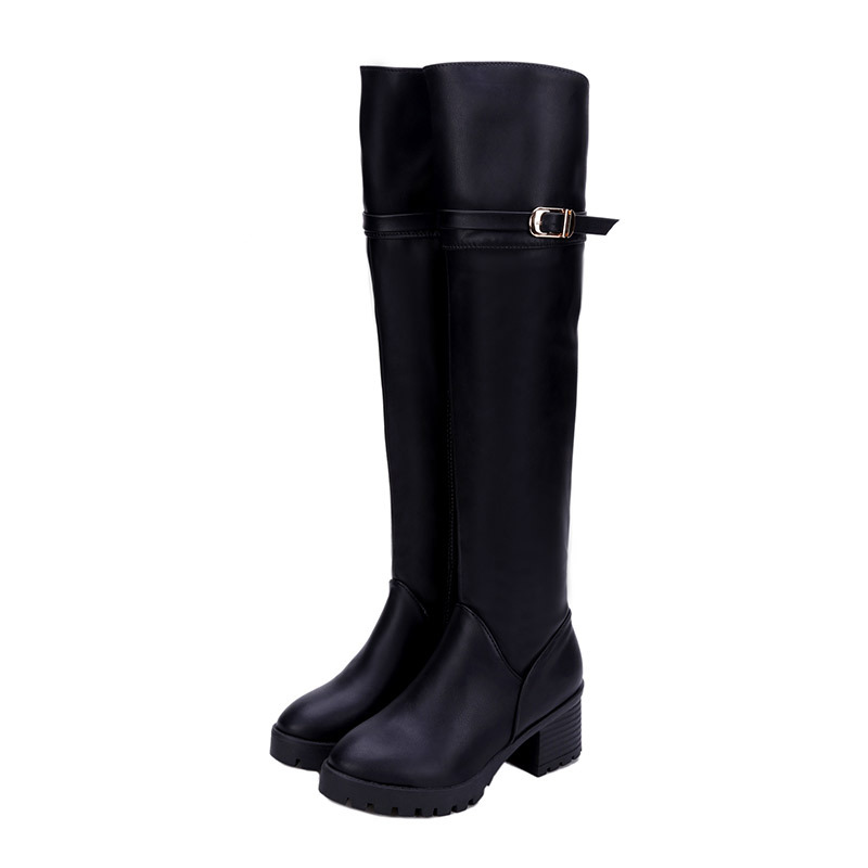 2018 Fashion PU Leather Over Knee Boots Women Sequined Toe Elastic Stretch Thick Heel Thigh High Riding Boots