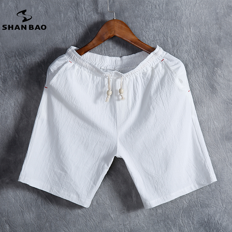 SHAN BAO brand mens summer fashion solid color casual shorts thin breathable cotton linen loose shorts white black gray blue