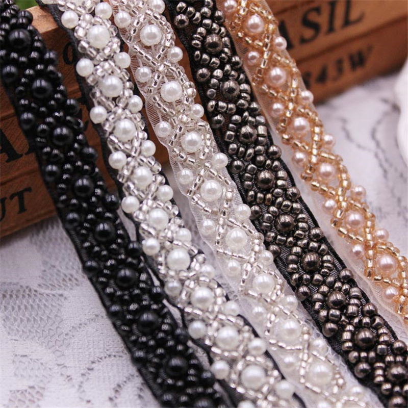 1 Yards/Lot Pearl Seed Bead Beaded Trims Lace Ribbon Fabric Clothes Decoration Wedding Dress Collar Sleeve Lace Applique Crafts