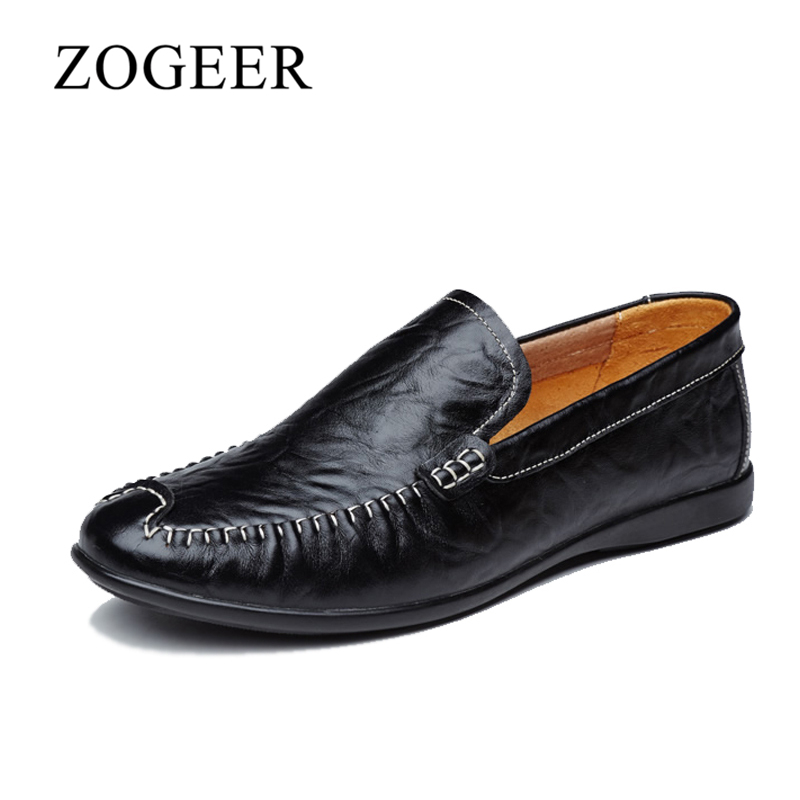 ZOGEER Big Size 38-46 Mens Casual Shoes, Genuine Leather Slip On Driving Loafers For Men, Fashion New Leather Man Moccasins pl us size 38 47 handmade genuine leather mens shoes casual men loafers fashion breathable driving shoes slip on moccasins