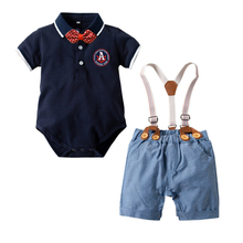 Summer Newborn Baby Boy 2pcs Gentleman Outfit Sets Short Sleeve Romper With Shorts Set School Clothes For Children