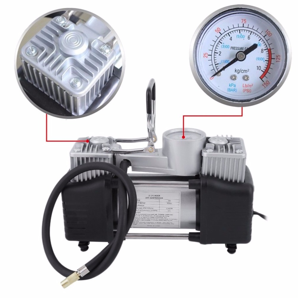 12v Air Compressor 150PSI High Power Double Cylinder Inflator Vehicles Tyre Inflation Pump Universal for Car Trucks Bicycle New