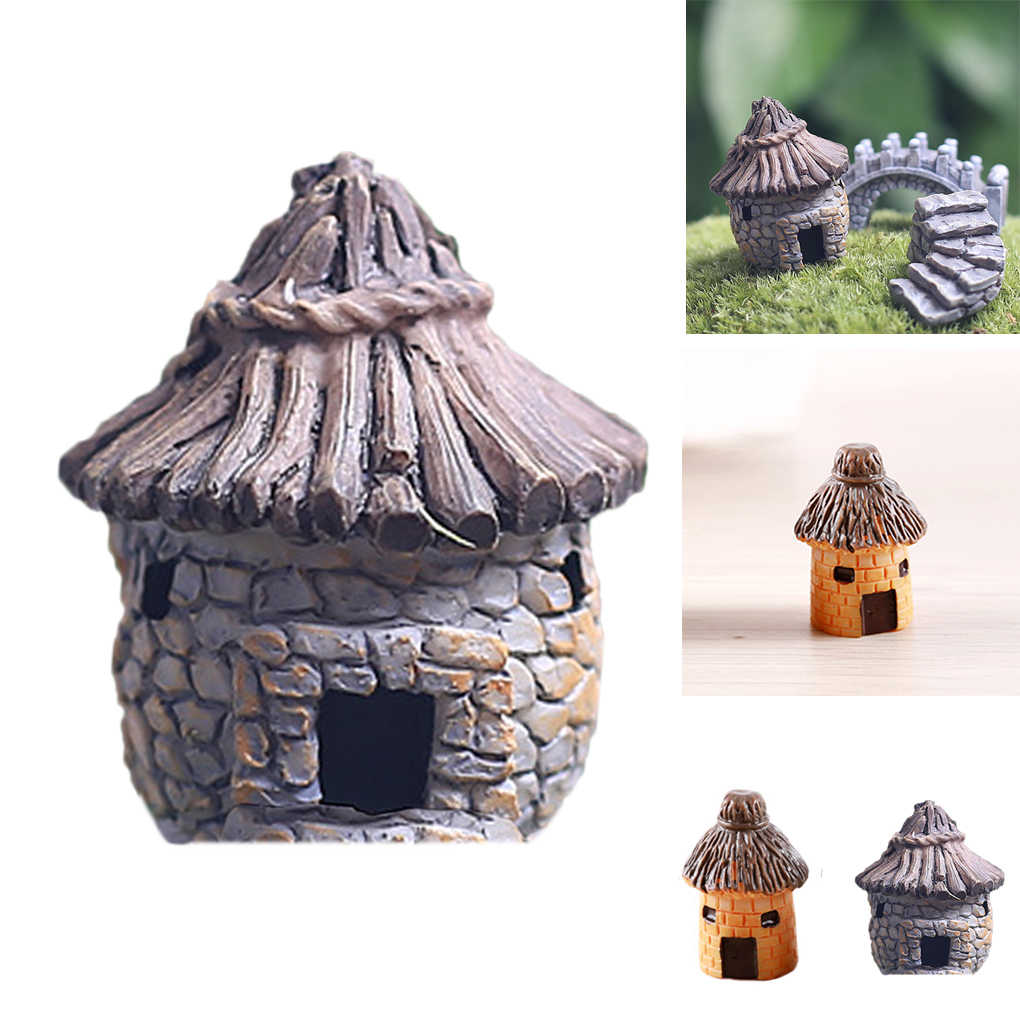 Hot 1pcs Vintage Fairy Cottage Landscape Decor Resin House Garden Ornament