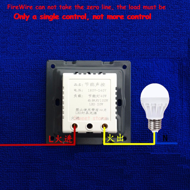 Voice switch lamp corridor delay sensor energy saving lamp 86 led sound and light control switch intelligent switch panel 1pc (1)