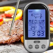 Horno de Cocción de Alimentos de Cocina Digital Remoto Inalámbrico/BBQ Grill Fumador Carne Termómetro Con Sonda y Reloj, Indicador de Temperatura y alerta