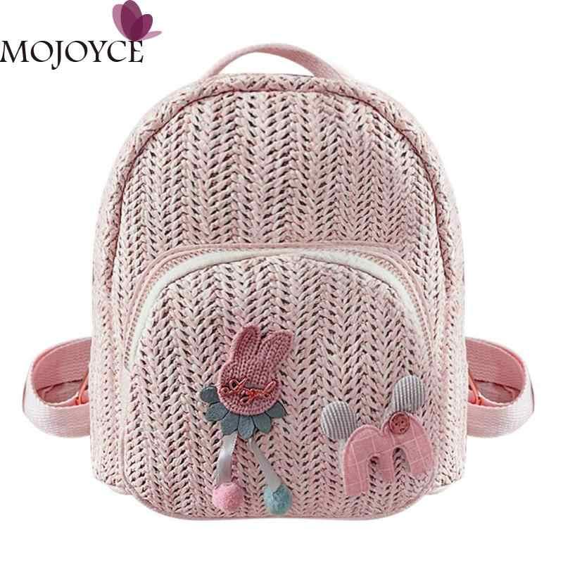 Дети Девушки Мода милый мультфильм декор путешествия рюкзаки для женщин повседневный маленький соломенный плечо школьная сумка ранец mochila feminina