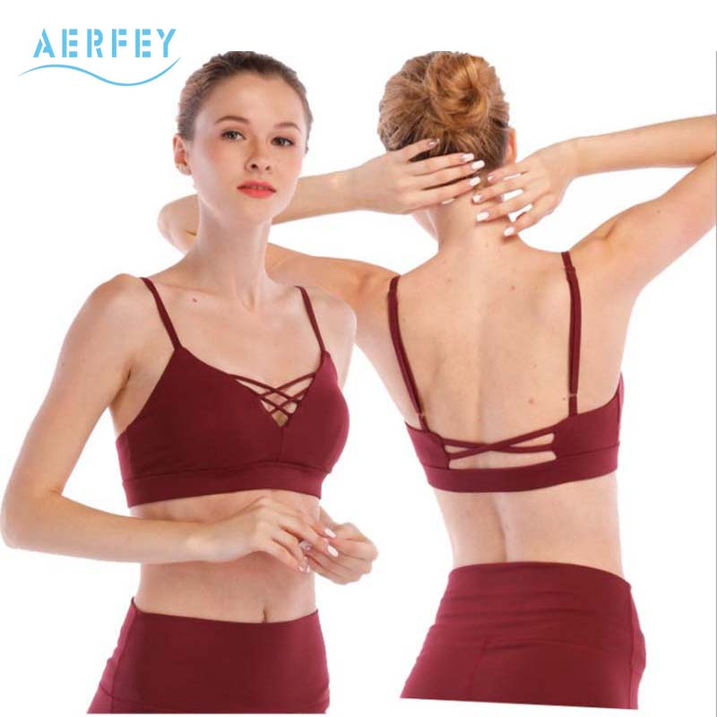 d6e746ae1b Aerfey 2018 New Women Cotton Feeling Stretchy Sports Bra Interlace Yoga Bra  Fitness Wine Red Color Workout Top