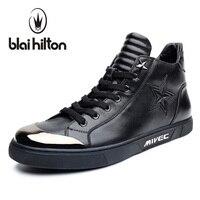Blaibilton Pentagram Embossing Fashion Mens Shoes Casual High Top Quality Luxury 100 Genuine Leather Men Shoes