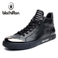 Blaibilton Pentagram Embossing Fashion Mens Shoes Casual High Top Quality Luxury 100 Genuine Leather Men Shoes