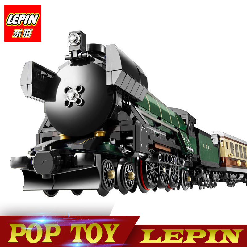 New Lepin 21005 1085Pcs Technic Series Emerald Night Train Model Building Kits Block Bricks Children compatible legoed 10194 Toy 2016 new lepin 21005 creator series the emerald night model building blocks set classic compatible legoed steam trains toys