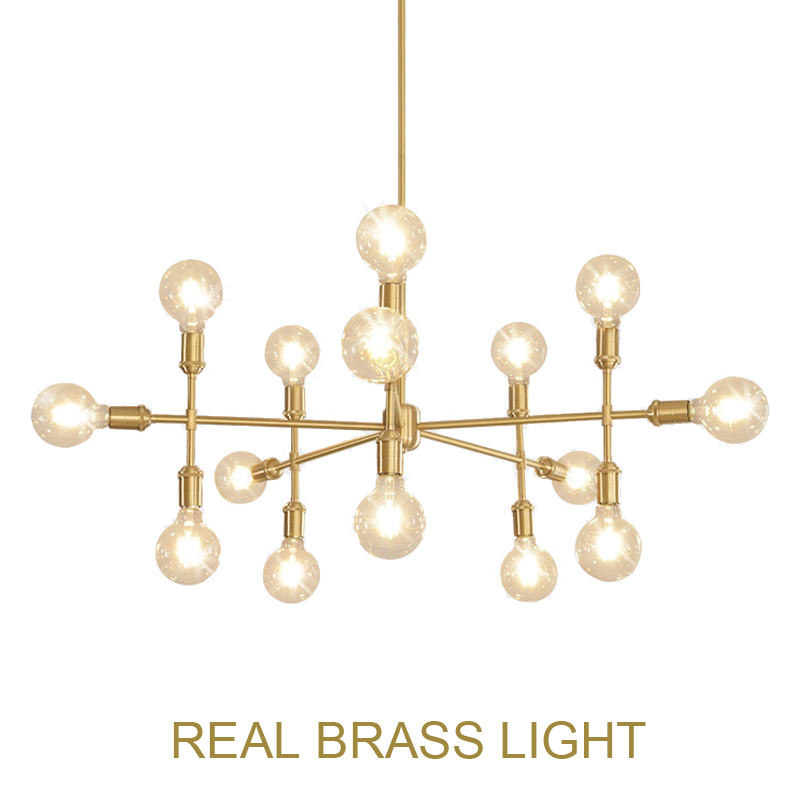 European designer show room golden LED pendant light lamp modern simple brass copper hanging light lamp