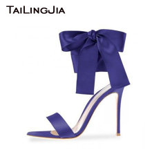 BOW Ankle Strap High Heel Women Shoes Woman Sandals Blue Open Toe Plus Size Handmade Shoes High Quality Summer Sandals Wholesale high quality white suede fringed high heel sandals 2015 sexy open toe ankle strap sandals summer high heel sandals