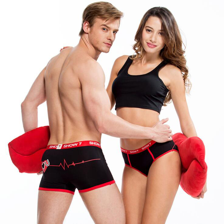 Couple Lovers Men Boxer Shorts Print Pouch Sexy Underwear Men's Underpants Cueca Boxer Male Panties Lady Boxershorts Bamboo