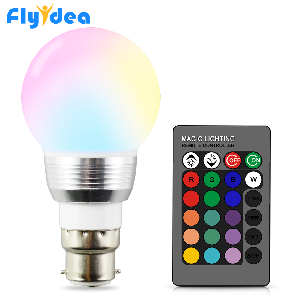 LED Night Light Lamp B22 rgb bulb holiday Dimmable Stage Lighting + 24key IR Remote Control 110V 220V 16 Color Magic blub-in LED Bulbs & Tubes from Lights & Lighting