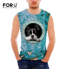 FORUDESIGNS 2018 New Arrival Men's Tank Tops Cool 3D Dog Print Fitness Sleeveless Clothing Male Bodybuilding Tops Vest Clothes