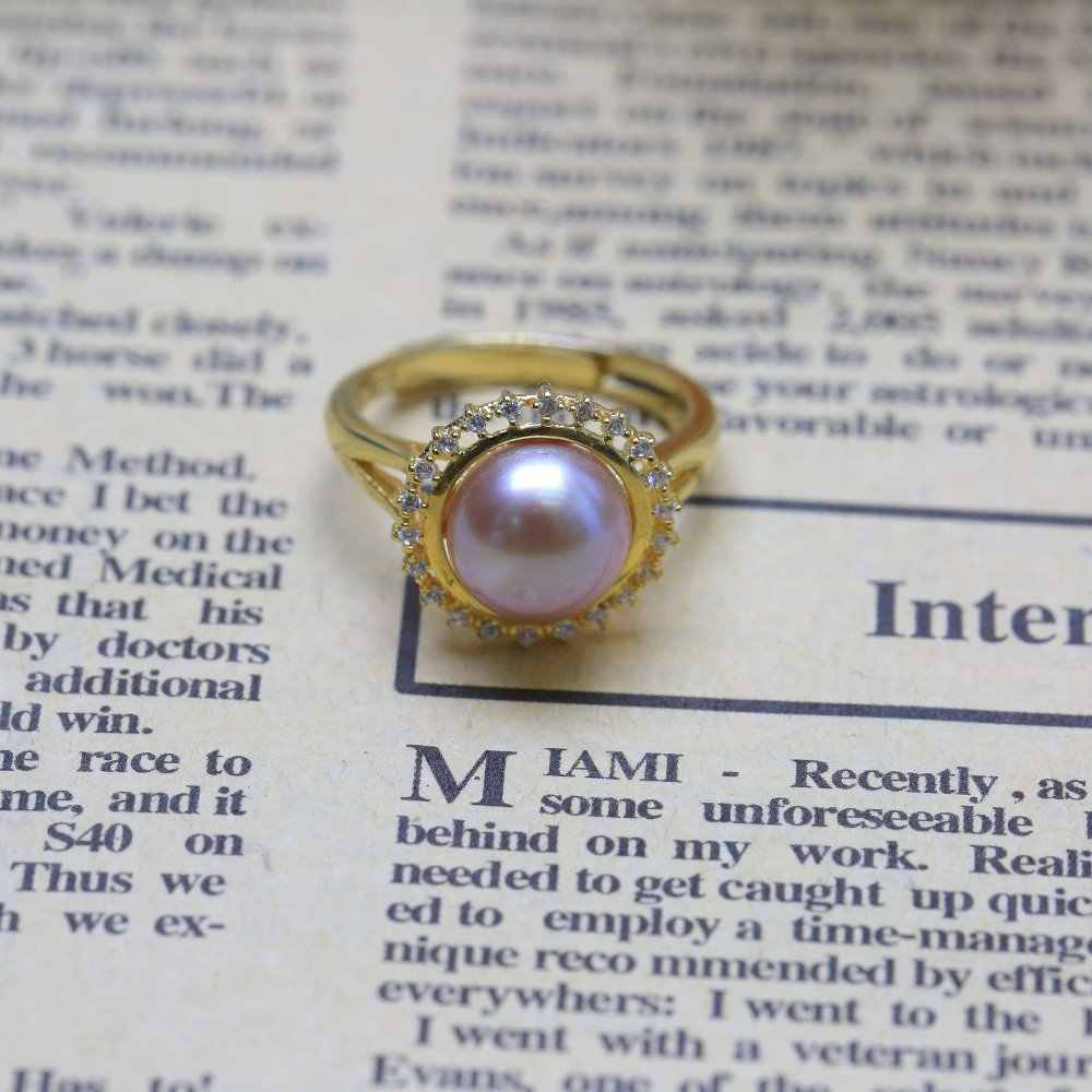 BaroqueOnly 2018 Thời Trang Ngọc Trai Vòng Trang Sức Của màu vàng Vòng Nhẫn Nhẫn Ngọc Trai Nước Ngọt 925 Sterling Silver Ring Đối Với Phụ Nữ