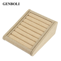 GENBOLI Linen Jewellery Rings Display Tray Rack Stand Etagere Storage Holder Ring Show Organizer Packaging Box