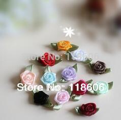 300pcs Free Shipping Shop Cheap Satin Rose Flower from China Ribbon Flower
