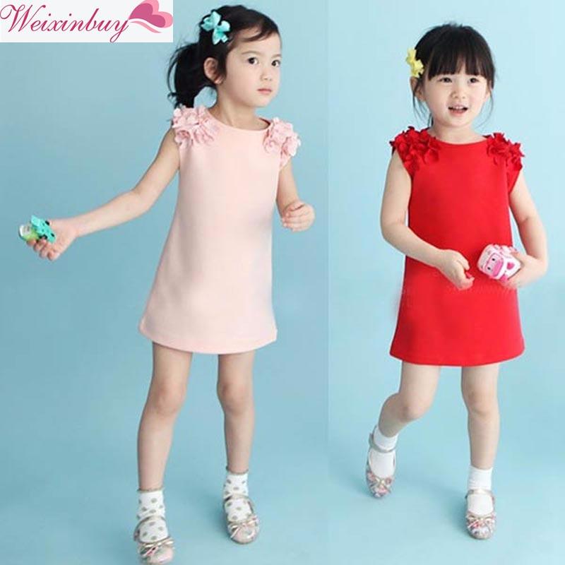 New Fashion Kids Baby Girls Princess kleitas Lovely bezpiedurkņu kleitas Birthday Kāzu puse apģērbs 2019 Bērnu apģērbi