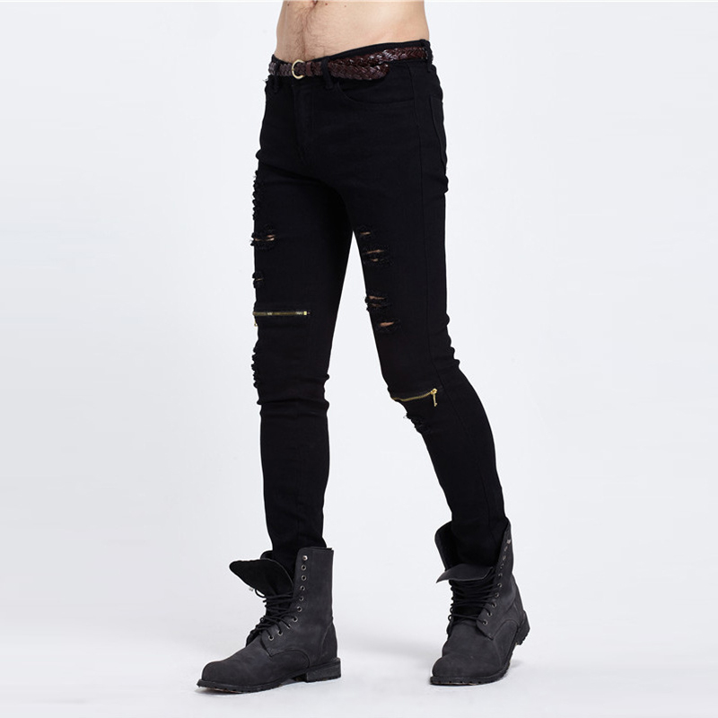 Street wear pants new men's jeans ripped jeans for men skinny Distressed slim famous brand designer biker hip hop swag black