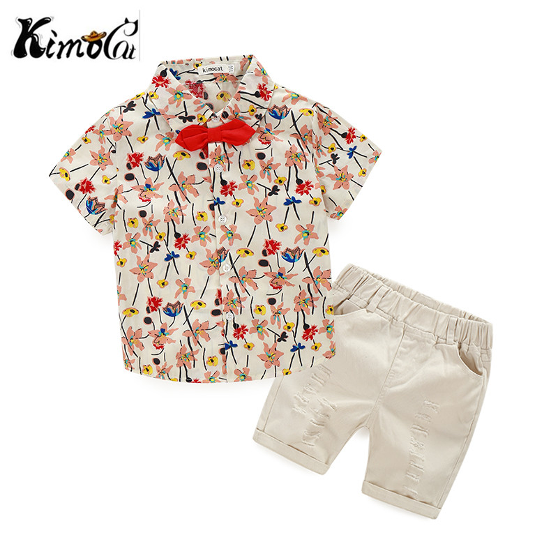Kimocat new children clothing kids Summer short-sleeved bow floral shirt suit 2pcs (Shirt + casual shorts)