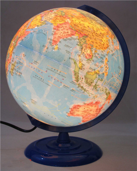 Plastique Dia 20cm Hd bleu océan en Version anglaise et chinoise lumière LED Globe terrestre Articles d'ameublement étudiant - 2