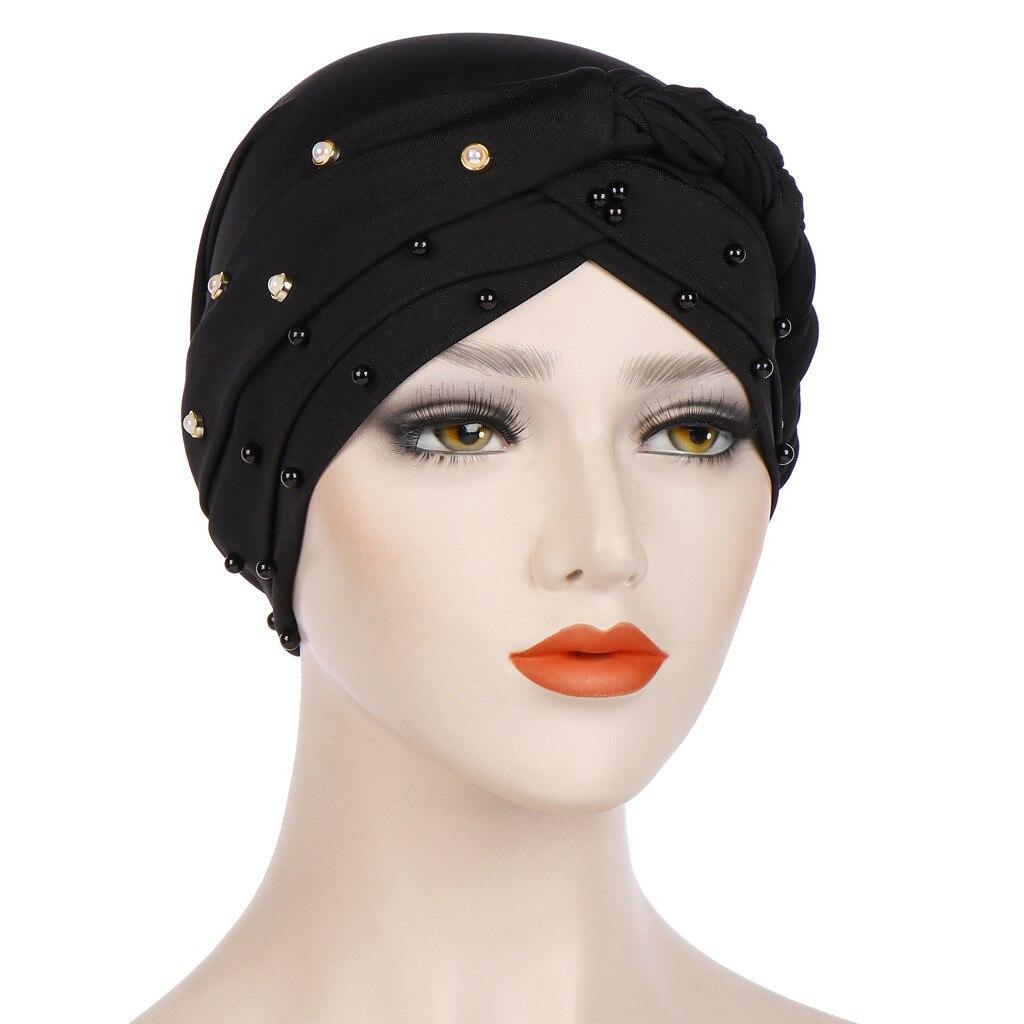e0f5ff2bb Cheap Gorros de verano para mujeres Casual turbante cabeza envolver gorras  con cuentas trenzado India sombrero