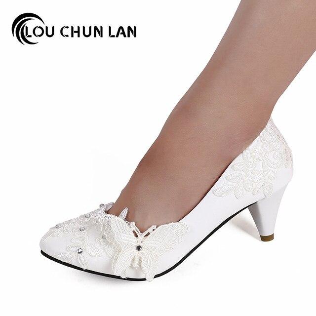 Shoes Women Pumps White Bandage Pearl Flower Bridal Bridesmaid Womens Wedding Free Shipping
