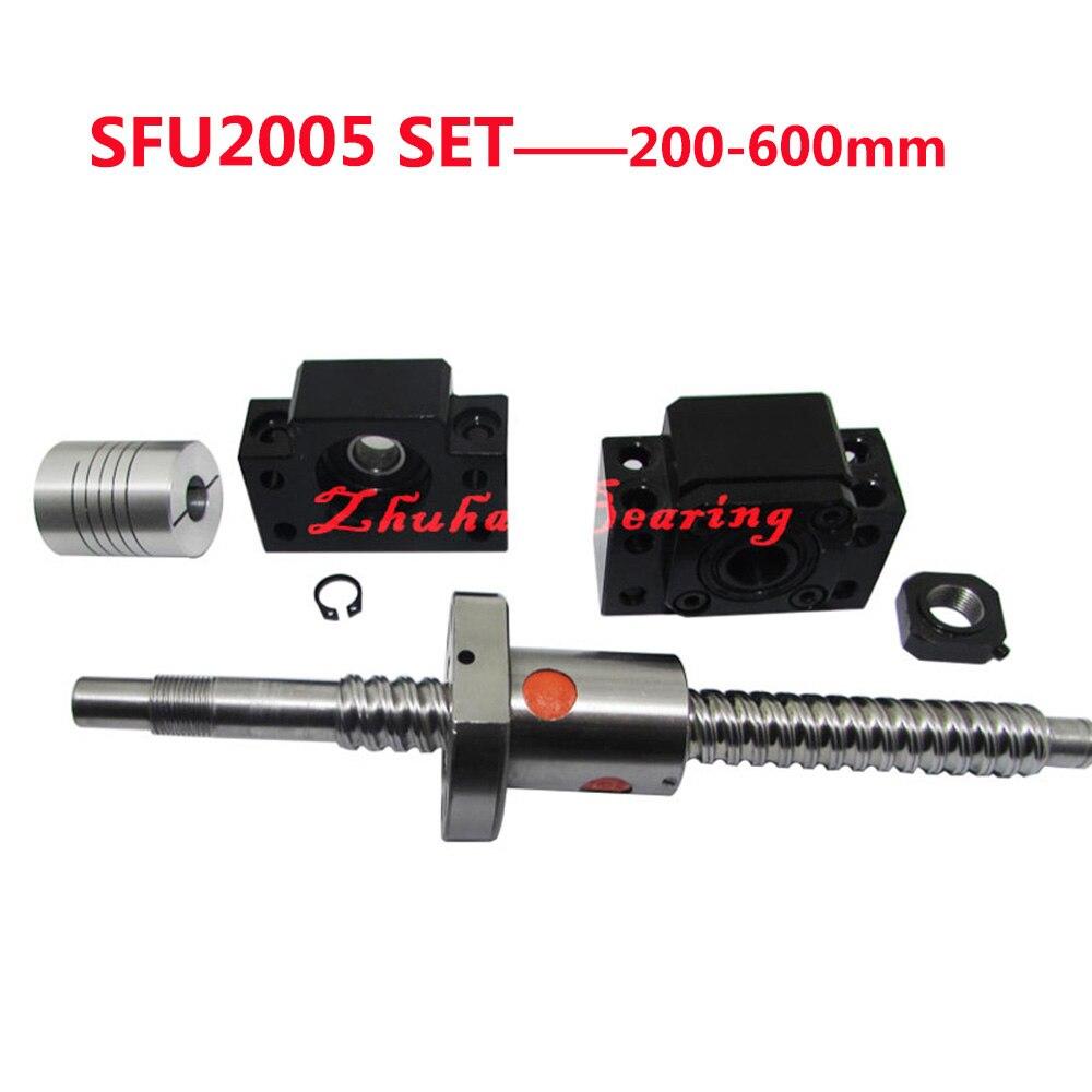 цена SFU2005 SET: End Machined SFU2005 Length 200/250/300/350/400/450/500/550/600mm Ball Screw C7 + 2005 Ball Nut +BK/BF15 + Coupler