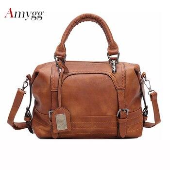 高級女性革ハンドバッグブラウンヴィンテージバッグデザイナーハンドバッグ高品質有名なブランドトートショルダーハンドバッグ