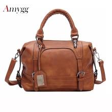 цена на Luxury Women Leather Handbag Brown Retro Vintage Bag Designer Handbags High Quality Famous Brand Tote Shoulder Ladies Hand Bag