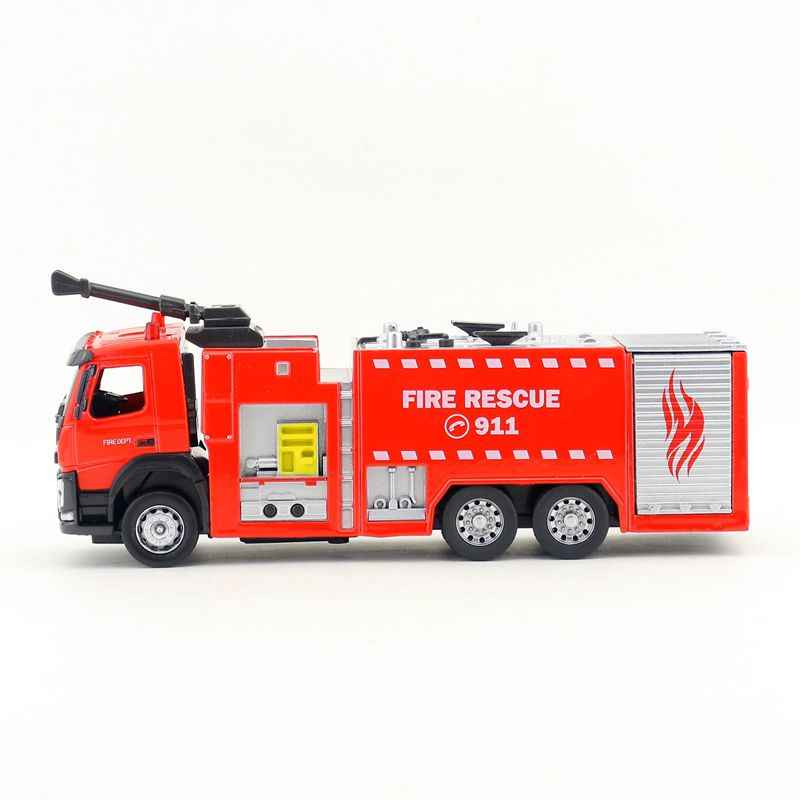 Free Shipping/1:50 Scale/Diecast Model/Volvo Fire Engine Truck/Engineering  Car/Sound & Light/Educational Collection/Gift/Child