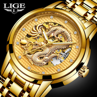 Dragon Skeleton Automatic Mechanical Watches For Men Wrist Watch Stainless Steel Strap Gold Clock 30m Waterproof Mens watch+box