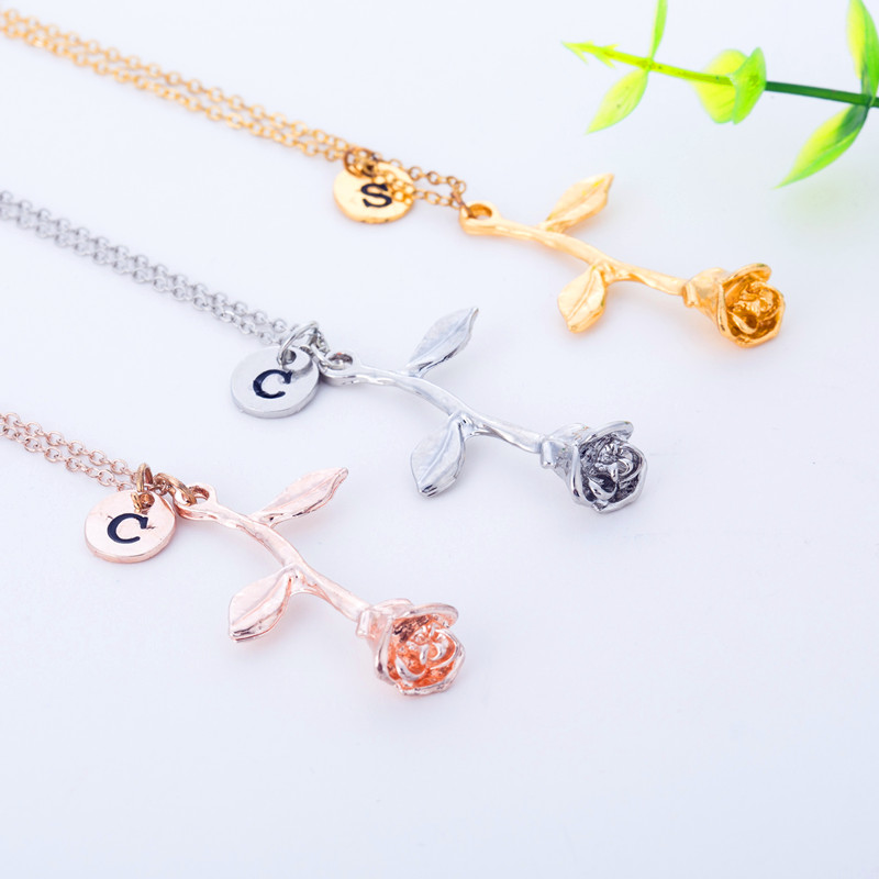 What To Get Fiance For Wedding Gift: Bridesmaid Gift Initial Letter Rose Flower Necklace Gift