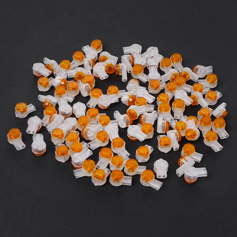100 x Air Tight Orange Clear Button Cable UY Butt Splice Connectors BT