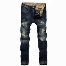 Новая Мода Отверстия Джинсы Мужчины Прямые Тонкие Длинные Брюки Джинсы Homme Узкие Брюки Классический Известная Марка Джинсовые Брюки Высшего Качества