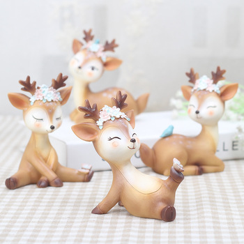 Mini Sika DeerFigurines Resin Craft Miniatures Fairy Garden Decor Bonsai Terrarium Figurines Cake Topper Decor Ornament 1